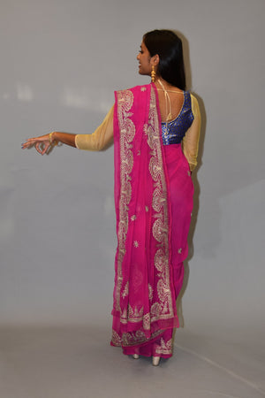 Silk Hot Pink Embroidered Saree