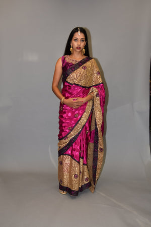 Silk Embroidered Magenta Purple Saree With Pale Gold Pallu