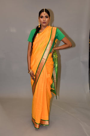 Silk Dark Canary Yellow Saree With Parakeet Green Banarasi Pallu