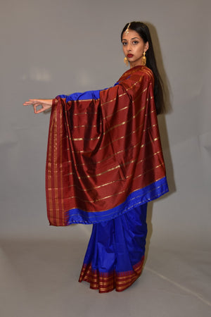 Silk Egyptian Blue Gold Striped With Lipstick Red Pallu Saree