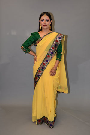 Silk Georgette Pineapple Yellow Embroidered Saree