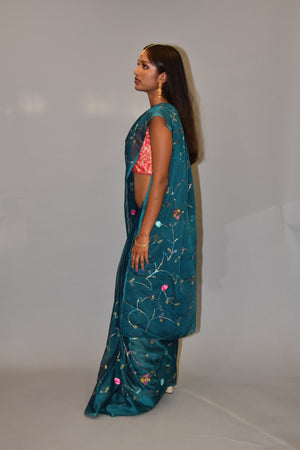 Hand Embroidered Silk Solid Steel Blue Saree