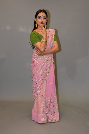 Silk Georgette Heavy Embroidered Flamingo Pink Saree
