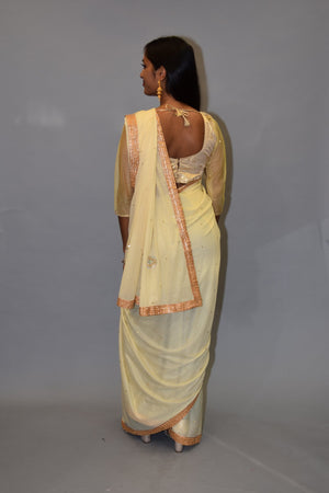 Silk Embossed Georgette Cream White With Antique Gold Embroidered Border