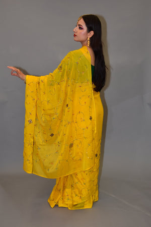Silk Embroidered Medallion Yellow Saree