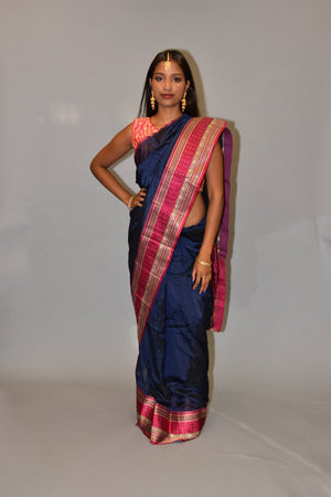 Silk Prussian Blue Saree With Contrast Ruby Pink Pallu