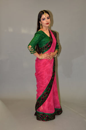 Silk Georgette Cerise Pink With Embroidered border Saree