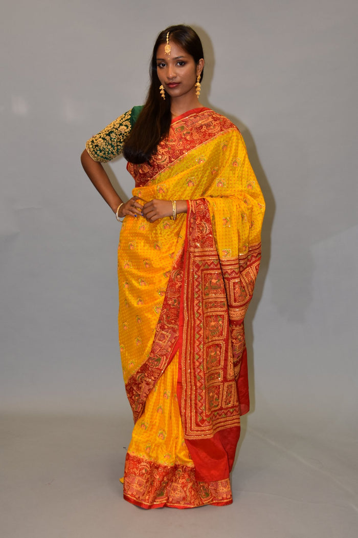 Silk Honey Gold Saree With Contrast Apple Red Embroidered Pallu