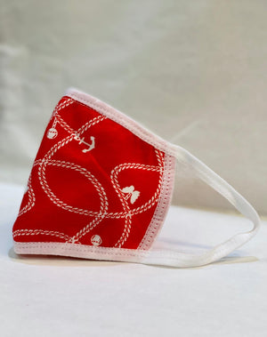 Kid's Cotton Unisex Red & White Printed Cloth Face Masks