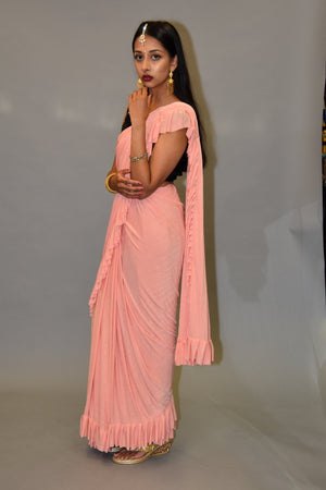 Silk Flamingo Pink Pleated Ruffle Saree