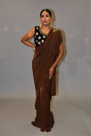 Silk Pecan Brown Pleated Ruffle Saree