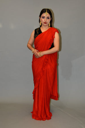 Silk Chili Red Pleated Ruffle Saree
