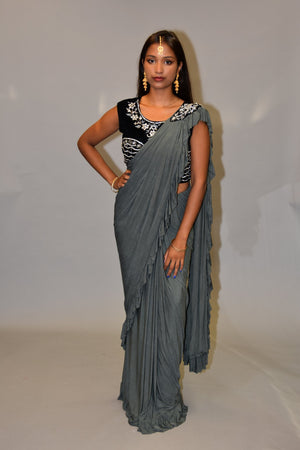 Silk Lava Grey Pleated Ruffle Saree
