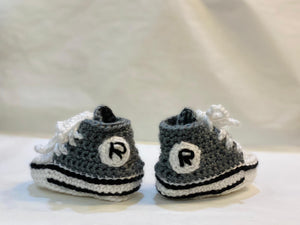 Handmade Crochet Stone Grey Converse Style Baby Booties