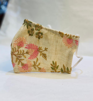 Hand Embroidered Beige Floral Fancy Cloth Face Masks
