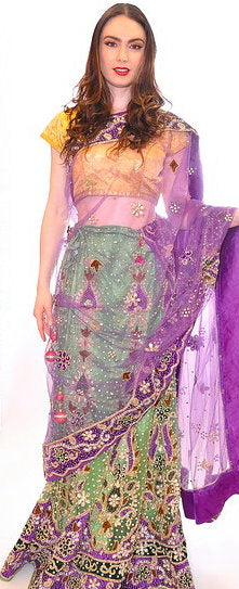 Purple and Green Bridal Lehenga