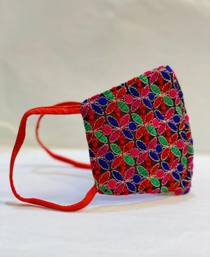 Hand Embroidered Fancy Multicolored Cloth Face Masks