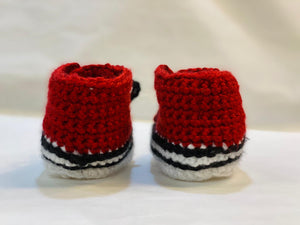 Handmade Crochet Maroon Red Converse Style Baby Booties