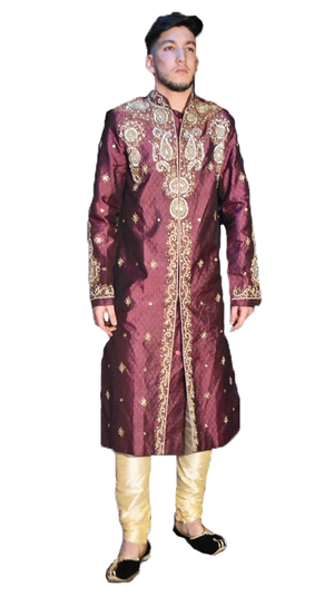 Heritage Formal Plum with gold work Sherwani