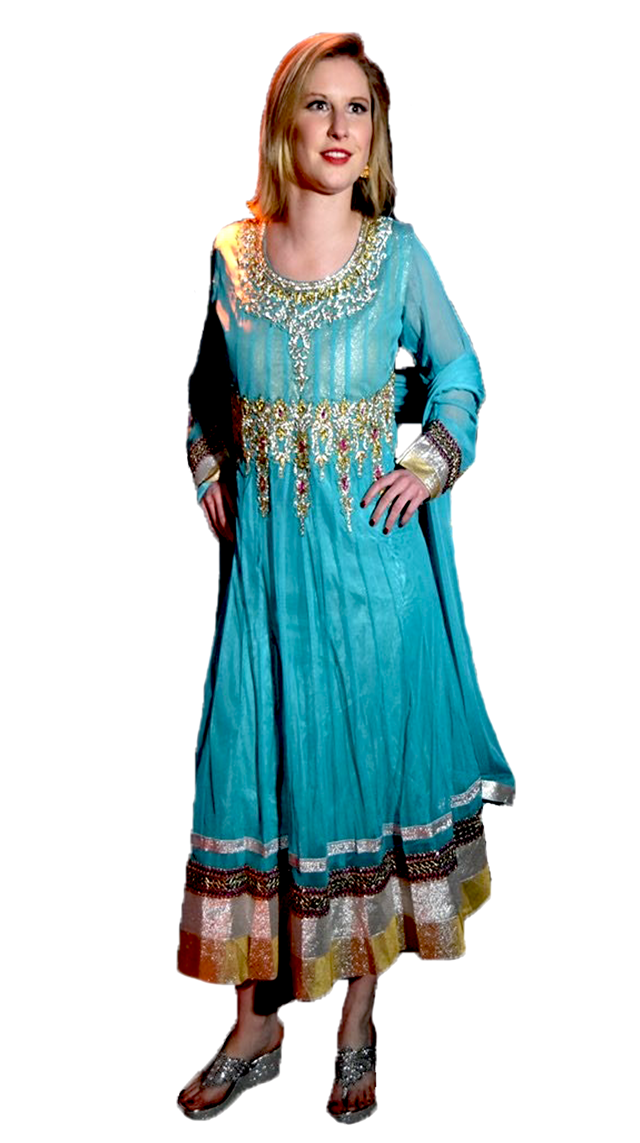 Formal Azure and Gold Anarkali