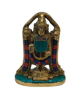 Brass Balaji Turquoise and Coral Mosaic Statue