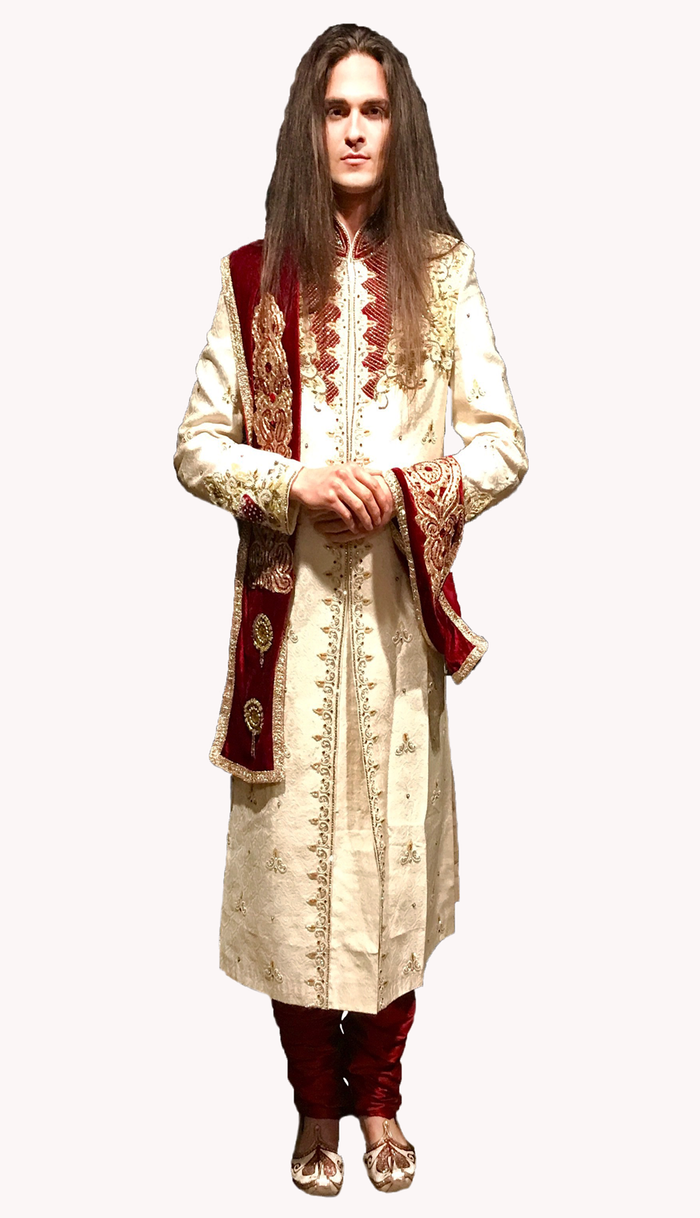 Heritage Ivory Silk Embroidered with Golden work Sherwani