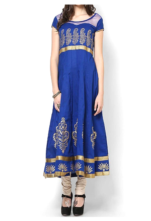 Royal Blue Block Print Cotton Gown With Gold Trim