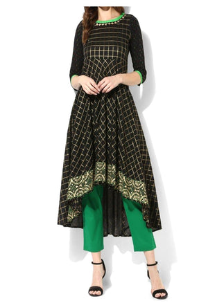Cotton Black Block Printed With Green Trim Anarkali Suit