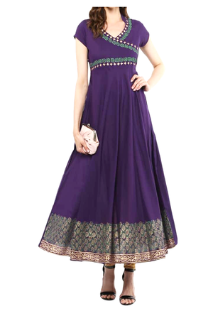 Handmade Cotton Purple Block Printed Gown