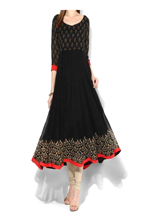 Black Block Print Georgette Gown With Red Trim