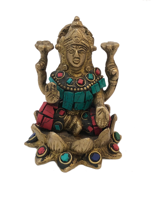 Brass Laxmi Turquoise And Coral Mosaic Statue