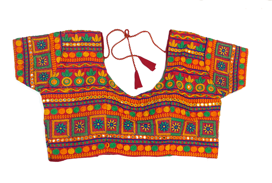 Formal Silk Embroidered With Mirror Work  Crop Top