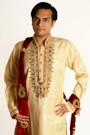 Silk Brocade Gold Embroidered Men's Kurta