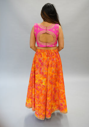 Formal Silk Magenta Pink Embroidered Crop Top