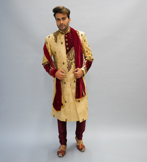 Silk Royal Gold  Embroidered Sherwani