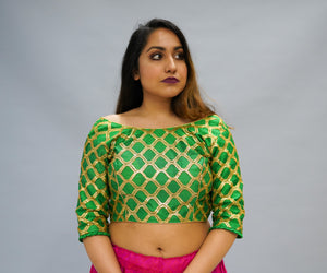 Formal Silk Dark Paris Green Crop Top with Three Quarter Sleeves