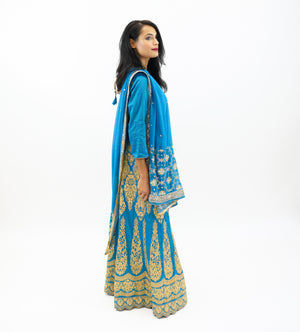 Silk Azure Blue Embroidered Lehenga