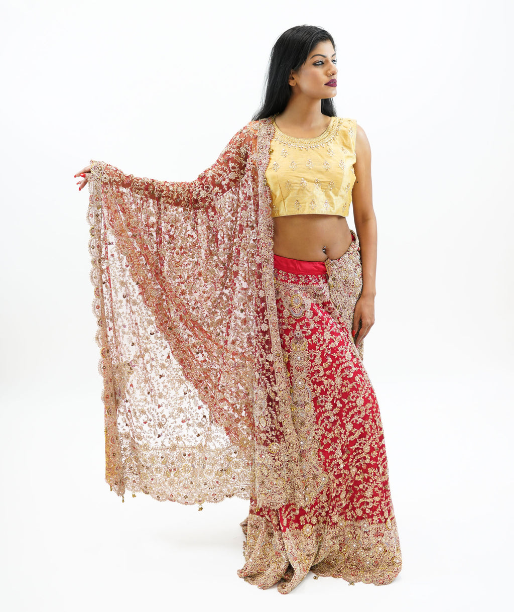 Silk Candy Red Heavy Embroidered With Enhanced Zari Work Lehenga