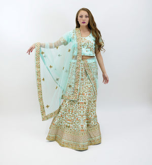 Silk Light Tiffany Blue Embroidered Lehenga