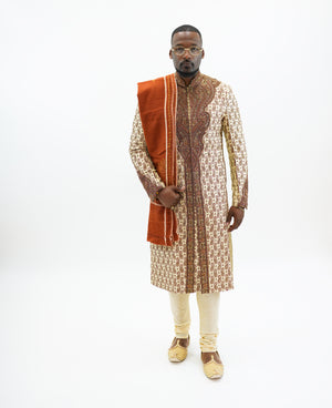 Silk Mellow Gold Heavy Embroidered Sherwani