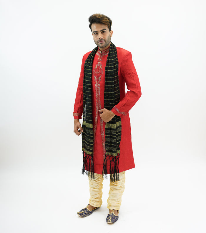 Silk Candy Red Embroidered  Sherwani