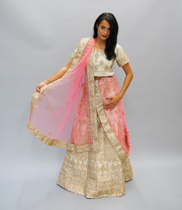 Silk Peach Gold Heavy Embroidered Lehenga
