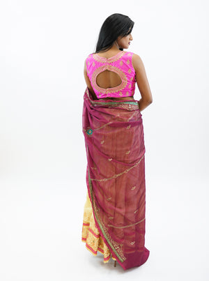 Silk Cream Gold With Light Sangria Red Scarf Embroidered Lehenga
