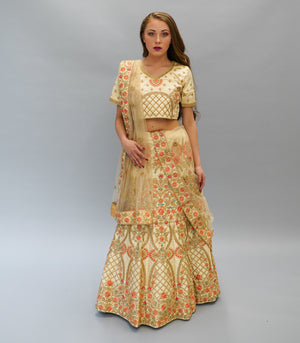 Silk  Mellow Gold Heavy Embroidered Lehenga