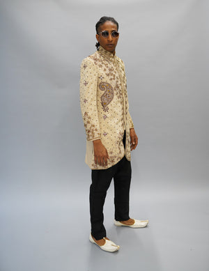 Silk Brocade DutchWhite Heavy Embroidered Bandhgala /Sherwani