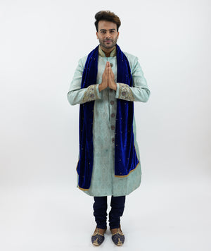 Silk Brocade  Tiffany Blue Embroidered Sherwani