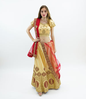 Silk Mellow Gold Embroidered Lehenga