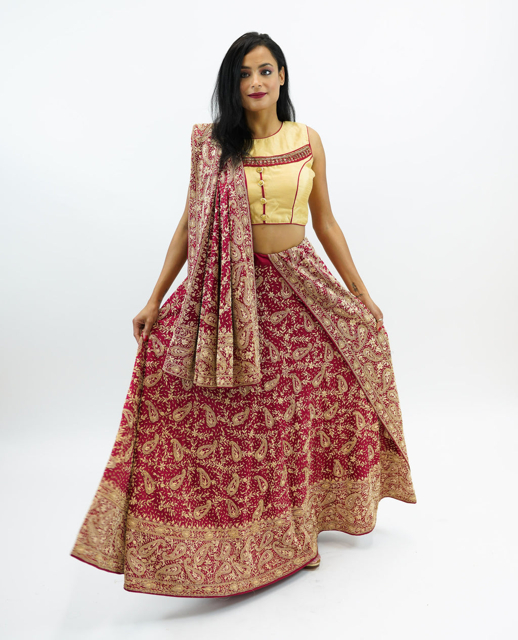 Silk Ruby Red Heavy Embroidered With Enhanced Zari Work Lehenga