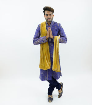 Silk Brocade Dark Iris Purple Embroidered & Enhanced Rhinestone Work  Sherwani