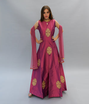 Silk Pink Punch Embroidered Gown